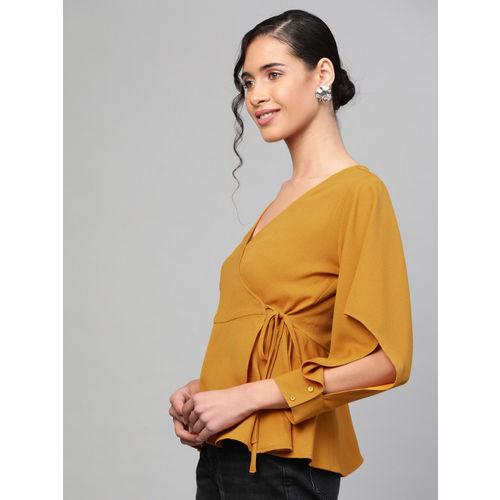 SASSAFRAS Women Mustard Yellow Solid Wrap Top