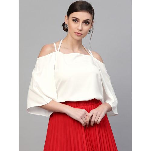 SASSAFRAS Women White Solid Cold-Shoulder Top