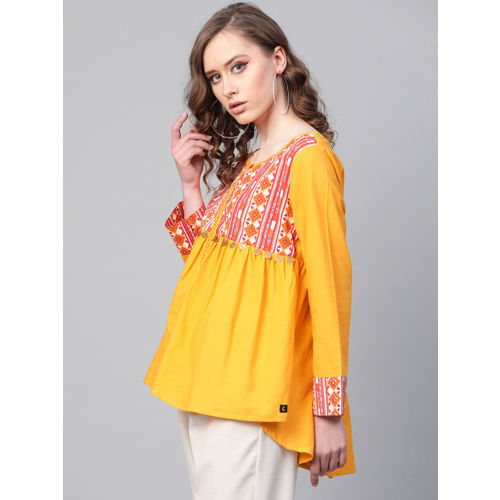 clorals Women Mustard Yellow & Red Printed Empire Top