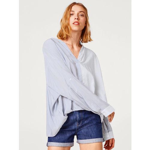 ESPRIT Women White & Blue Striped Boxy Top