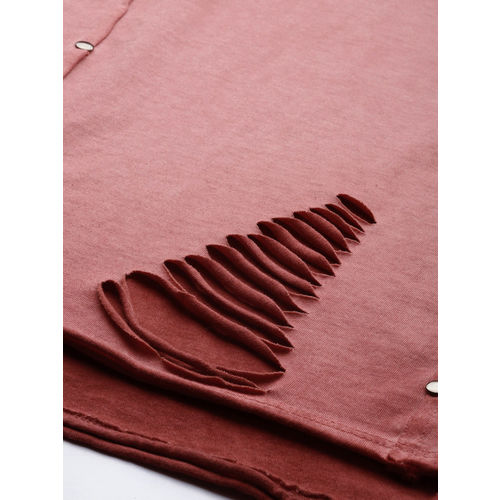 Roadster Women Red Dyed Top With Cut Out Detail