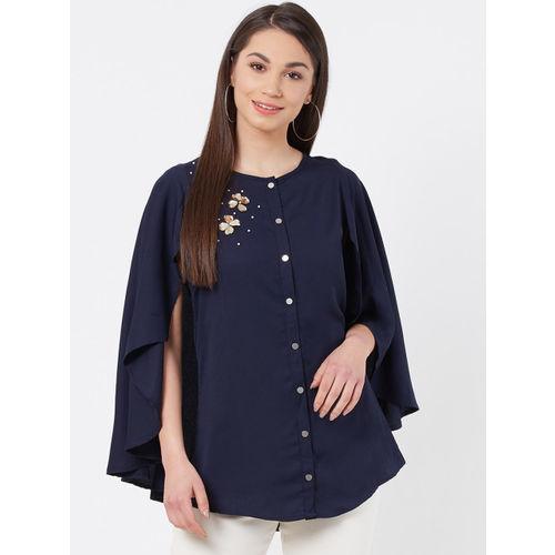 Instacrush Women Navy Blue Solid Top