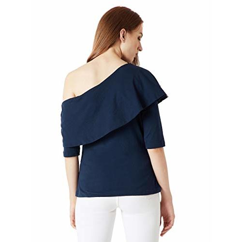 Miss Chase Women's Navy Blue Pearl One Shoulder Top