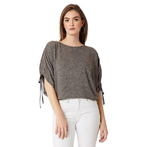 Miss Chase Women's Dark Grey Boxy Cotton Top