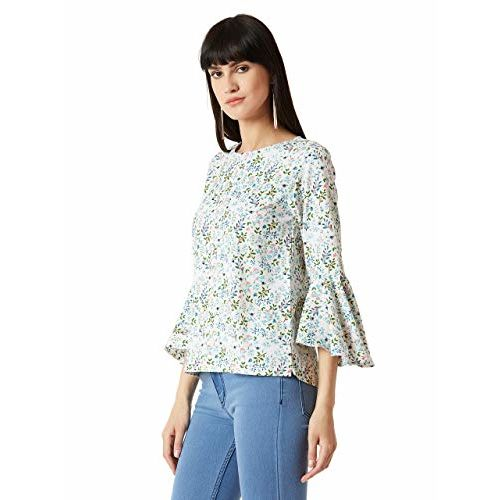 Miss Chase Women's Multicolored Ruffled Floral Print Top