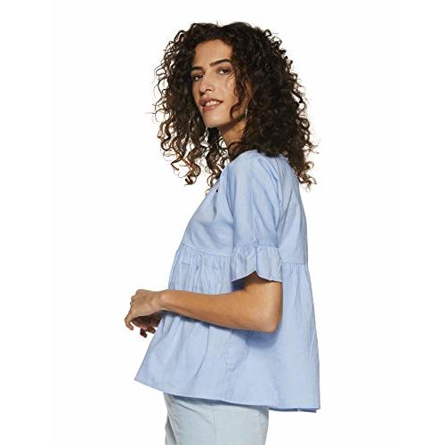 Miss Chase Women's Light Blue Ruffled Top