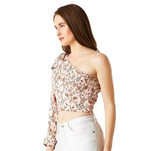 Miss Chase Women's Multicolored One Shoulder Floral Crop Top