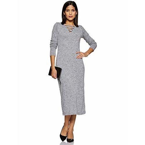 Miss Chase Women's Grey Midi Bodycon Dress