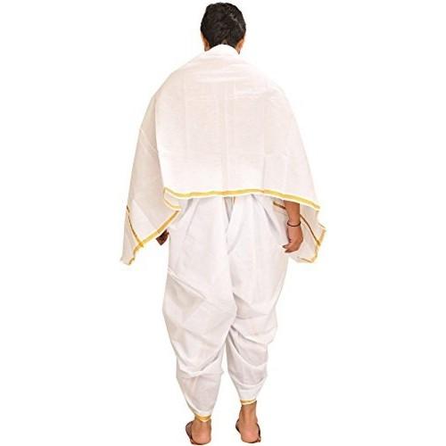 Exotic India Star-White Dhoti and Angavastram Set with Woven