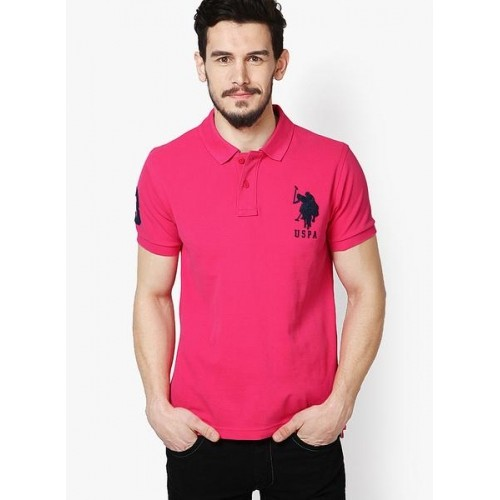 3c74c147 Buy U.S. Polo Assn. Fuchsia Solid Polo T-Shirts online | Looksgud.in