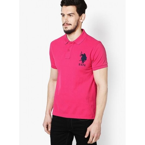U.S. Polo Assn. Fuchsia Solid Polo T-Shirts