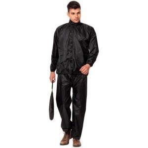 Super Black Solid Nylon Men's Raincoat