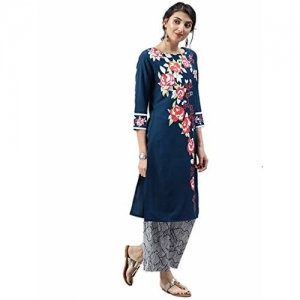 Vaamsi Blue Polyester A-Line Kurta Polyester