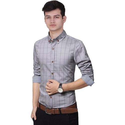 IndoPrimo Men Self Design Casual Grey Shirt