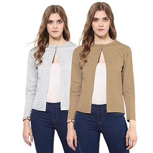 Skidlers Women/Girl's Summer Cotton Formal Shrugs / Women's Cotton Front Open Full Sleeve Cape Shrug(Pack of 2)