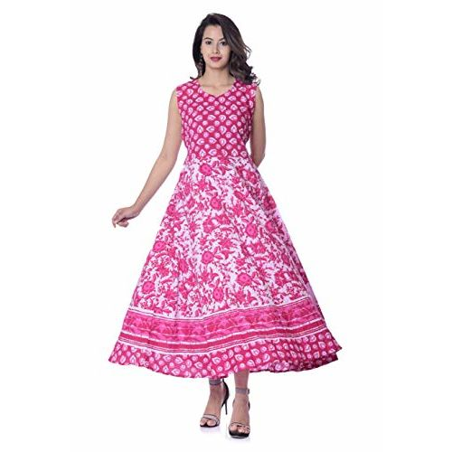 TheUrbanStreet 100% Cotton Pink Floral Printed Long Maxi Dress for Women - Pink