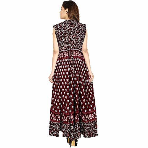 Madanam Women's Cotton Jaipuri Print Maxi Dress (Blue and Red, up to 44-XXL, Free Size) Combo of- 2 pcs