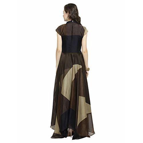 Kvsfab Georgette Geomatric print With Stone work Flared Dress [KVSKR1114MRLI]