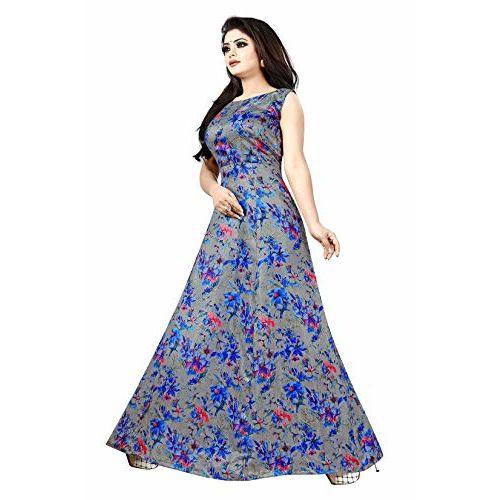 JULEE Women's Banglori Satin Printed Semi-Stitched Gown