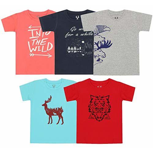 Elk Kids Boys Cotton Printed T-Shirts Pack of 5 Green Blue Orange