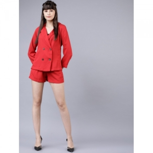 Tokyo Talkies Women Red Solid Blazer with Shorts