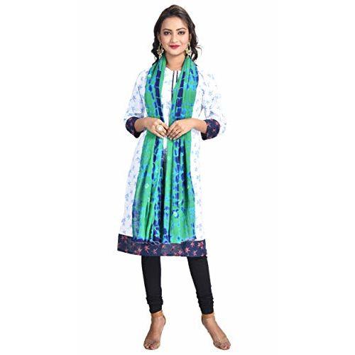Color Nirvana Women's 100% Pure Cotton Tie Dye and Bandhani Multicolor Dupatta