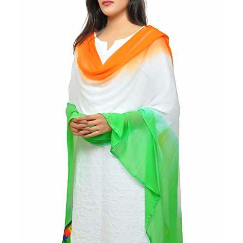Banjara India Women's Soft Chiffon Solid Dupatta (TRG-Border) Tricolour - SuperTiranga