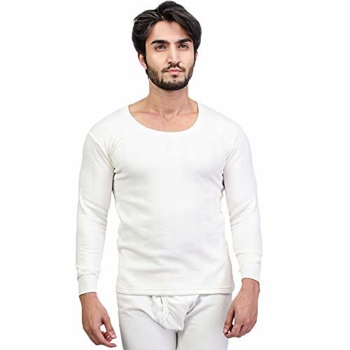 Zimfit Cotton Men's or Boy's Winter wear Round Neck Full Sleeves Thermal,Warmer Top in White Colour (Pack of 2)