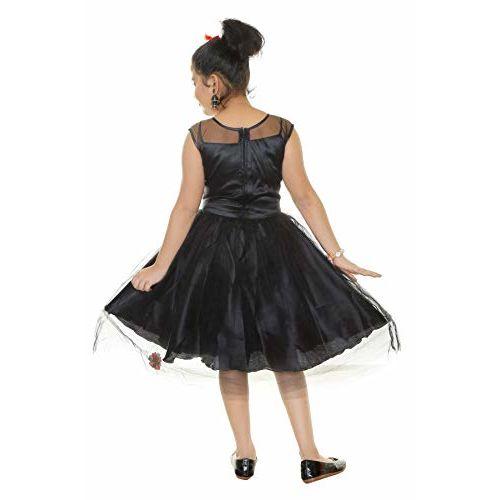 YAYAVAR Girls Net Made Flared Festive Dreess