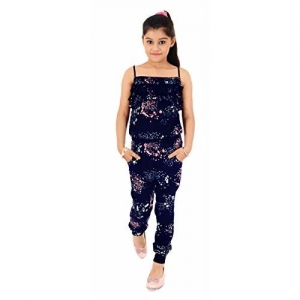 Naughty Niños Girl's Navy Blue Rayon Relaxed Trousers Suit
