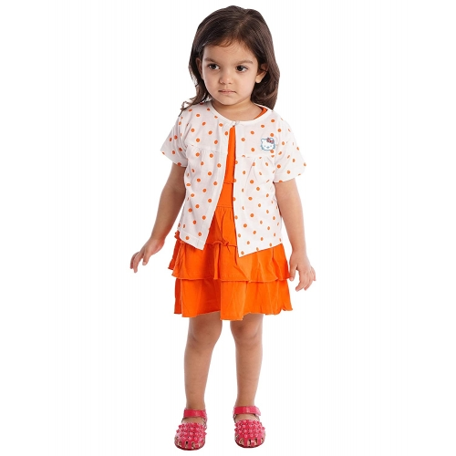 Orange and Orchid Girls' Cotton A-Line Knee-Long Dress