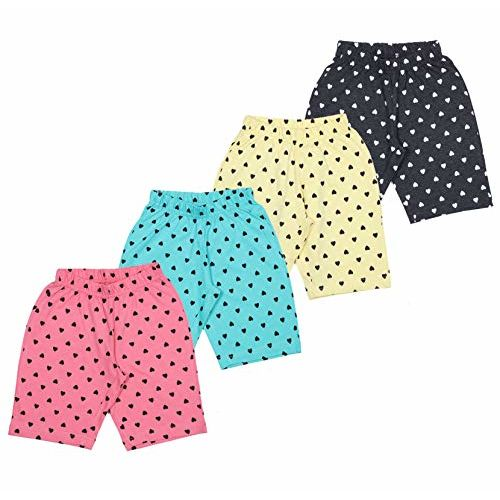 MINNOW Girl's Cotton Heartin Printed Shorts - Pack of 4