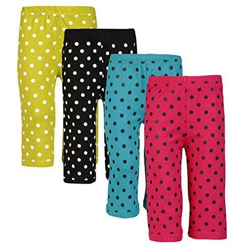 Sini Mini SINIMINI Girls Colorful DOT Print Capri (Pack of 4)