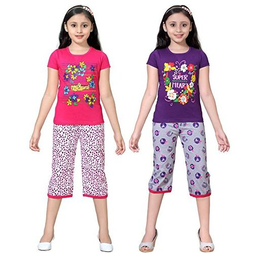 Sini Mini SINIMINI Girls Printed Capri Set (Pack of 2)