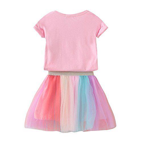 Googo Gaaga Unicorn Printed T-Shirt with Rainbow Coloured Skirt