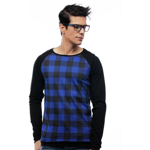 Rodid Checkered Men Boat Neck Blue T-Shirt