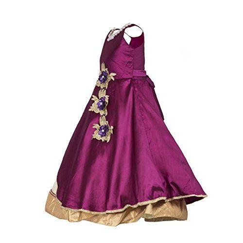 My Lil Princess Baby Girls Birthday Frock Dress_Assementric LC Purple_Tafetta Silk_4-10 Years
