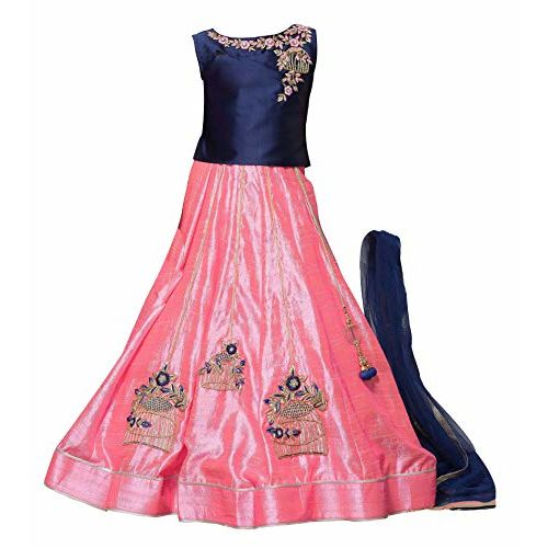 White Button queen Girl's Blue N Pink Mastani Embroidery Panjra Flared ReadyMade Lehenga Choli Dress