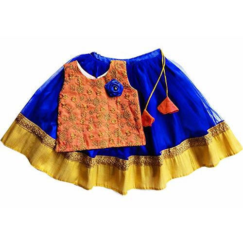 Stanwells kids Royalblue and Peach combo girls Designer lehenga cholit 6months-7 years