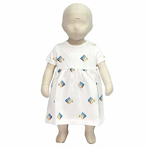 Flybees Baby Girl Mini Frocks, Extra Soft to Keep Baby Warm & Cosy - 100% Tested Cotton, White with Allover Print - Comfort Fit, 3 Months to 3 Years