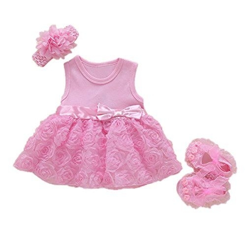 FairOnly Baby Girls Infant Lace Party Dress Gown with Headband and Shoes Set
