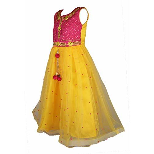 My Lil Princess Baby Girls Birthday Frock Dress_Kids Anarkali Red Frock_3-10 Years