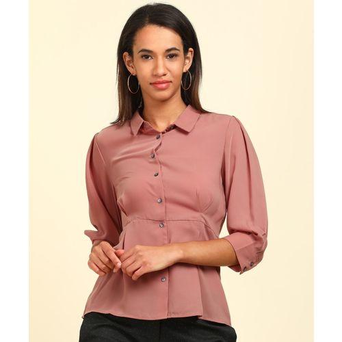 Van Heusen Women Solid Casual Brown Shirt