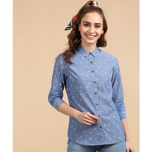 Lee Women Floral Print Casual Blue Shirt