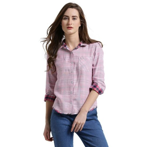 Texco Women Checkered Casual Pink, White Shirt