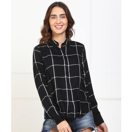 People Women Checkered Casual Black, White Shirt