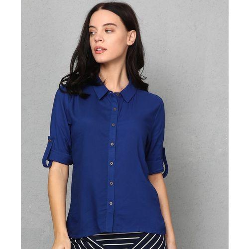 Metronaut Women Solid Casual Blue Shirt