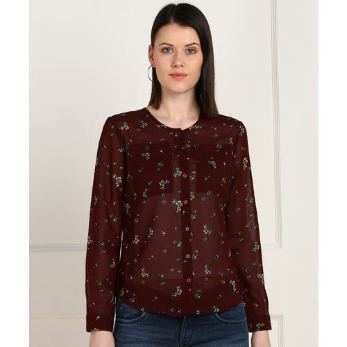 Provogue Women Floral Print Casual Maroon Shirt
