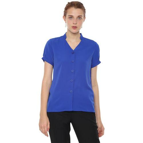 Van Heusen Women Solid Casual Blue Shirt