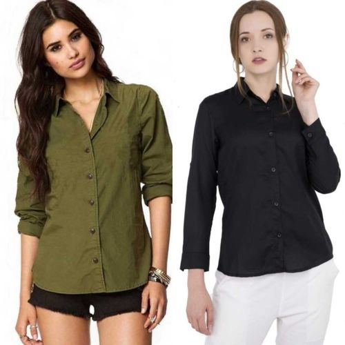 Red Craft Women Solid Casual Green, Black Shirt(Pack of 2)